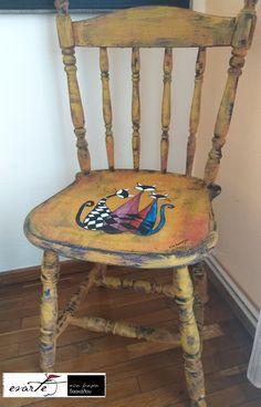 Ζωγραφική,  τεχνικές παλαίωσης Art Work, Decoupage, Dining Chairs, My Arts, Vintage, Furniture, Home Decor, Artwork, Work Of Art