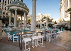 A corporate reception hosted at the Garden of the Gods Pool at Caesars Palace in Las Vegas. Las Vegas Events, Caesars Palace, Roman Architecture, Las Vegas Strip, Reception, Scene, Patio, God, Garden