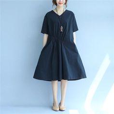 Women V Neck Short Sleeve Pocket Loose Black Dress