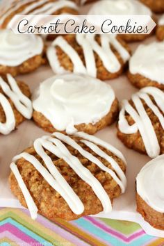 Carrot Cake Cookies w/ Cream Cheese Frosting #cookies