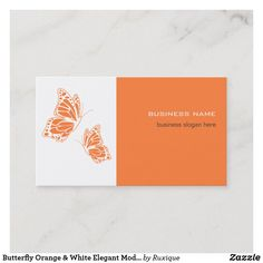 Shop Butterfly Orange & White Elegant Modern Simple Business Card created by Ruxique. Business Slogans, Business Names, White Butterfly, Butterfly Design, Simple Business Cards, Text Color, Orange, Things To Come, Elegant