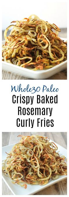 Crispy Rosemary Baked Curly Fries (Whole30 Paleo) - easy to make curly fries that are crispy with a touch of rosemary. Kid friendly, comfort food made healthy!   tastythin.com