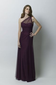Bobbinet draped illusion one shoulder dress.    #Watters #WTOO #Bridesmaids