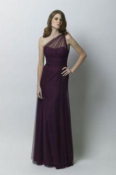 Bobbinet draped illusion one shoulder dress.    #Watters #WTOO #Bridesmaids