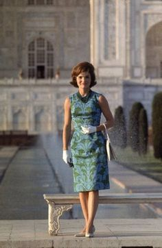 First Lady Jackie Kennedy standing on the grounds of the Taj Mahal during a visit to India, March 1962
