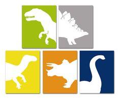 Childrens+Art+Prints+Dinosaurs++TRex+Triceratops+by+AlleyKids,+$56.00