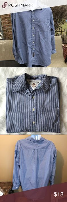 "Tommy Hilfiger Men's Button down Shirt 17 34-35 Blue striped men's Tommy Hilfiger button down shirt 17 34-35.  Approximate Measurements: 🔸pit to pit 27"" 🔸length 32"" Great shape!  Ask if you have any questions! Tommy Hilfiger Shirts Casual Button Down Shirts"