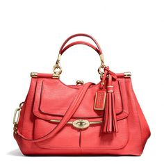 The Madison Pinnacle Carrie Satchel In Textured Leather from Coach