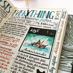 """I'm loving this new color, a kind of cobalt-turquoise. Probably I will include it in my palette. It's a little bright for the warm style pages but it could add some magic  """"Avanzando"""" means going forward, the first letter of this tiny alphabet."""