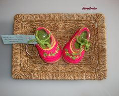 Hand Crocheted Cotton Baby Girl Shoes/Slippers  by AniramCreates, £9.99