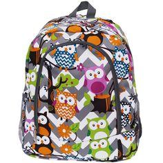 Owl Town™ Grey Chevron Print Backpack-Gre