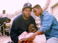 """The movie """"Boyz N the Hood"""", written and directed by John Singleton. Seen here from left to right, Cuba Gooding Jr. (as Tre Styles) and Ic. Urban Movies, Iconic Movies, Amazing Movies, Cult Movies, Classic Movies, Arte Do Hip Hop, Hip Hop Art, Old School Pictures, Hood Wallpapers"""
