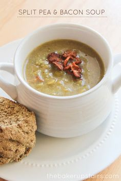 Tasty split pea and bacon soup. A cozy soup that is perfect for warming up a cold day! http://www.thebakerupstairs.com