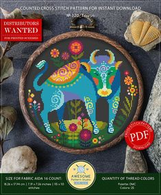 This is modern cross-stitch pattern of Taurus Zodiac for instant download. You will get 7-pages PDF file, which includes: - main picture for your reference; - colorful scheme for cross-stitch; - list of DMC thread colors (instruction and key section); - list of calculated thread