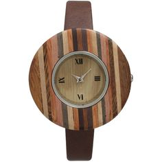 Olivia Pratt Faux Wood Bezel Brown Stripe Petite Leather Watch... ($25) ❤ liked on Polyvore featuring jewelry, watches, leather watches, brown leather wrist watch, buckle jewelry, dial watches and bezel jewelry