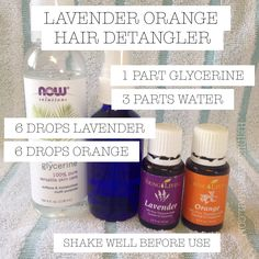 All-natural plant based DIY hair detangler with Young Living orange and lavender essential oils. Perfect for kids too.