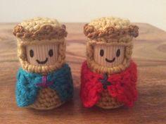 Crochet cork Kings adapted from Knight pattern by Lucy Ravenscar