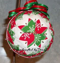 Christmas 2B  ~   ~  Quilt looking fabric ornaments made by Handcrafted by Denise.