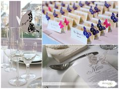 sengaposto menu escort card tema farfalle matrimonio / butterfly escort cards, place holders & menu