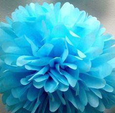Blue Tissue Poms
