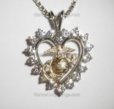 14K Gold Marine Corps Heart Pendant with 18 beautiful Diamonds - with Solid 14K Yellow Gold Eagle Globe and Anchor - Made in the USA by USMC Veteran owned small business, licensed and approved by the USMC.