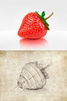 Impossible realism. strawberry #illustration