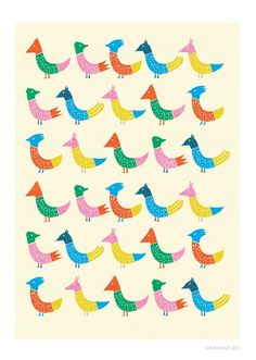 Peacock and Friends Print by Judy Kaufmann on Little Paper Planes