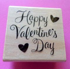 Happy Valentines Day Rubber Stamp by NakedRatDestash on Etsy, $3.50