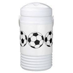 Funny Personalize Soccer Ball Futbol Sport Pattern Igloo Beverage Cooler This custom funny liquid cooler features a soccer ball pattern in black and white. Great gift for a male or female soccer player, fan, coach, recreational athlete, elite or professional athlete. Great mens or womens sports gift.
