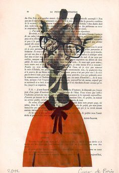 Acrylic paintings Illustration Original Prints Drawing Giclee Posters Mixed Media Art Holiday Decor Gifts:  Physics Giraffe. $10.00, via Etsy.