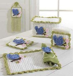 Picture of Bluebird Kitchen Set Crochet Pattern Crochet Kitchen, Crochet Home, Crochet Designs, Crochet Patterns, Crochet Blocks, Toaster Cover, Kitchen Sets, Yarn Needle, Home Decor Items