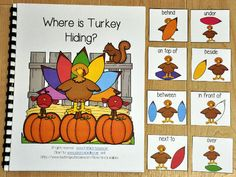 """This Turkey Adapted Book, """"Where is Turkey Hiding?"""" teaches prepositions or positional words and reinforces colors and color words.   In this activity, the teacher or therapist reads the story as the students identify the turkey's position in relation to each colored feather on each page. Students will match a position or preposition card to each page as the teacher reads. Students working independently can work through the book in a literacy center or independent workstation."""