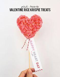 pink heart rice krispie treats for valentine's day