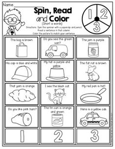 Read and Color! Read the SIMPLE sentence and color