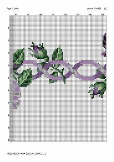 Mantel morado Cross Stich Patterns Free, Cross Stitch Borders, Cross Stitch Rose, Cross Stitch Flowers, Easy Crochet Patterns, Cross Stitching, Baby Dress Patterns, African Flowers, Fair Isle Pattern