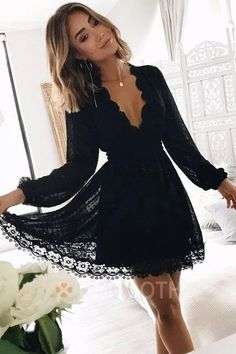Chic Black Deep V Neck Long Sleeves Lace Homecoming Dress, Black Short Prom Gown. Chic Black Deep V Neck Long Sleeves Lace Homecoming Dress, Black Short Prom Gowns Cheap Homecoming Dresses, Hoco Dresses, Event Dresses, Prom Gowns, Mini Dresses, Party Dresses With Sleeves, Lace Dress With Sleeves, Formal Gowns, Ruffle Dress
