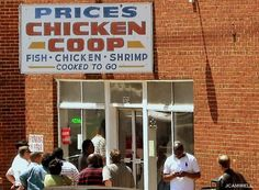 Price's Chicken Coop, Charlotte, NC has been on the Food Network several times for the great chicken.