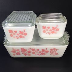 6 pc Set Pyrex Pink Gooseberry Refrigerator Dishes & Glass Lids 501 502 503 Vtg #Pyrex