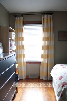 DIY painted drop cloth curtains... Good idea. And very inexpensive!