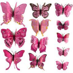 BornIsKing 12Pcs Wall Decor 3D Butterfly butterflies Stickers Fridge Magnet Room decoracion pared Decal Applique