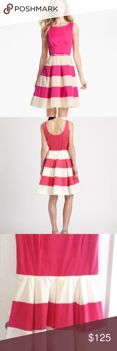 "Kate Spade New York Celina Dress In Full Bloom 8 Kate Spade Celina Dress - In Full Bloom.  Hot pink and white striped  Size 8   Retail: $398.00  ** In Excellent Condition, worn once.. One belt loop loose, see picture. **  Place your bets in this bold striped dress by kate spade new york. Let the horse races begin!   Pink and white striped stretch cotton (98% cotton, 2% elastane).  Sleeveless. Boat neck.  A-line skirt. Hidden side zipper with hook-and-eye closure. 38"" from shoulder to hem…"