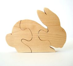 Wood Bunny Rabbit  Puzzle Maple Wooden Childrens Puzzle Hand Cut Scroll Saw