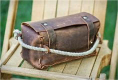 With antique rope acting as a handy handle, these one-of-a-kind handmade dopp kits from Hold Fast designer Matt Swaggart are made with Kodiak oil-tanned cowhide & come in a variety of colors and grain options. Michael Kors Boots, Dopp Kit, Mens Gear, Leather Projects, Leather Craft, Leather Bags, Leather Working, Cool Gifts, Luggage Bags