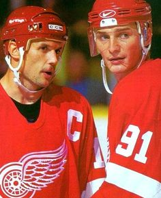 Steve Yzerman & Sergei Federov of the Detroit Red Wings. Now there was a one-two punch.