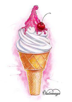 как нарисовать мороженое акварелью: 4 тыс изображений найдено в Яндекс.Картинках