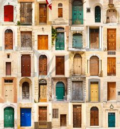 Collage of 35 colourful colored front doors to houses from Malta. Free art print of Collage of 35 colourful colored front doors. Malta, Front Door Colors, Front Doors, Front Door Images, Door Picture, Free Art Prints, Royalty Free Pictures, Majorca, House Design
