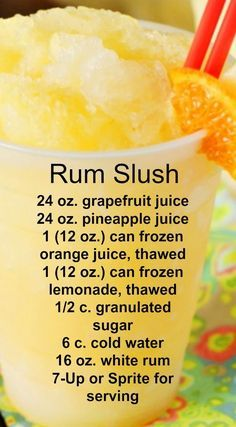 Rum Slush Refreshing citrus taste and super-cool slushiness. - Sprite - Ideas of Sprite - Rum Slush Refreshing citrus taste and super-cool slushiness. Party Drinks, Cocktail Drinks, Fun Drinks, Cocktail Recipes, Margarita Recipes, Summer Cocktails, Drinks With Rum, Food And Drinks, Rum Mixed Drinks