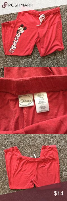 """Original Mickey Athletic Capris •Very Good •Disney. """"original Mickey"""" graphic on red athletic capris with elastic and drawstring waistband.  Waist 14"""" Hips 16.5"""" Inseam 21.5"""" Length 28""""  ~Mickey mouse, Walt Disney world, joggers, workout, comfy, sweats, Disney parks~ Disney Pants Track Pants & Joggers"""