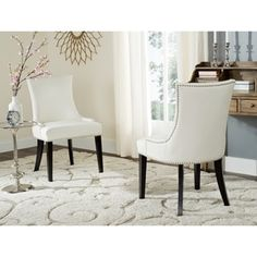 Shop for Safavieh En Vogue Dining Lester White Leather Side Chairs (Set of 2). Get free shipping at Overstock.com - Your Online Furniture Outlet Store! Get 5% in rewards with Club O!