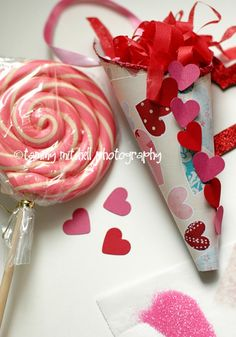 Valentine Cones! Fill with whatever you like. I love that it doesn't have to be filled with Candy!